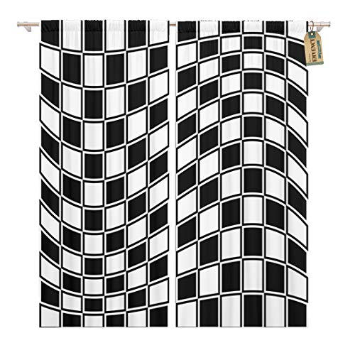 Golee Window Curtain Checkerboard Checkered Pattern Distortion Effect Opposite Color Border Home Decor Rod Pocket Drapes 2 Panels Curtain 104 x 96 inches ()