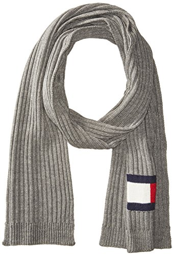 Tommy Hilfiger Men's Winter Scarf, Silver, One Size