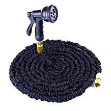 Garden Hose Pipe,TechCode 50 FEET Expandable Flexible Hose Pipe with Solid Brass Hose Fittings & Spray Gun for Plants Watering and Car Washing (50FT, Black)