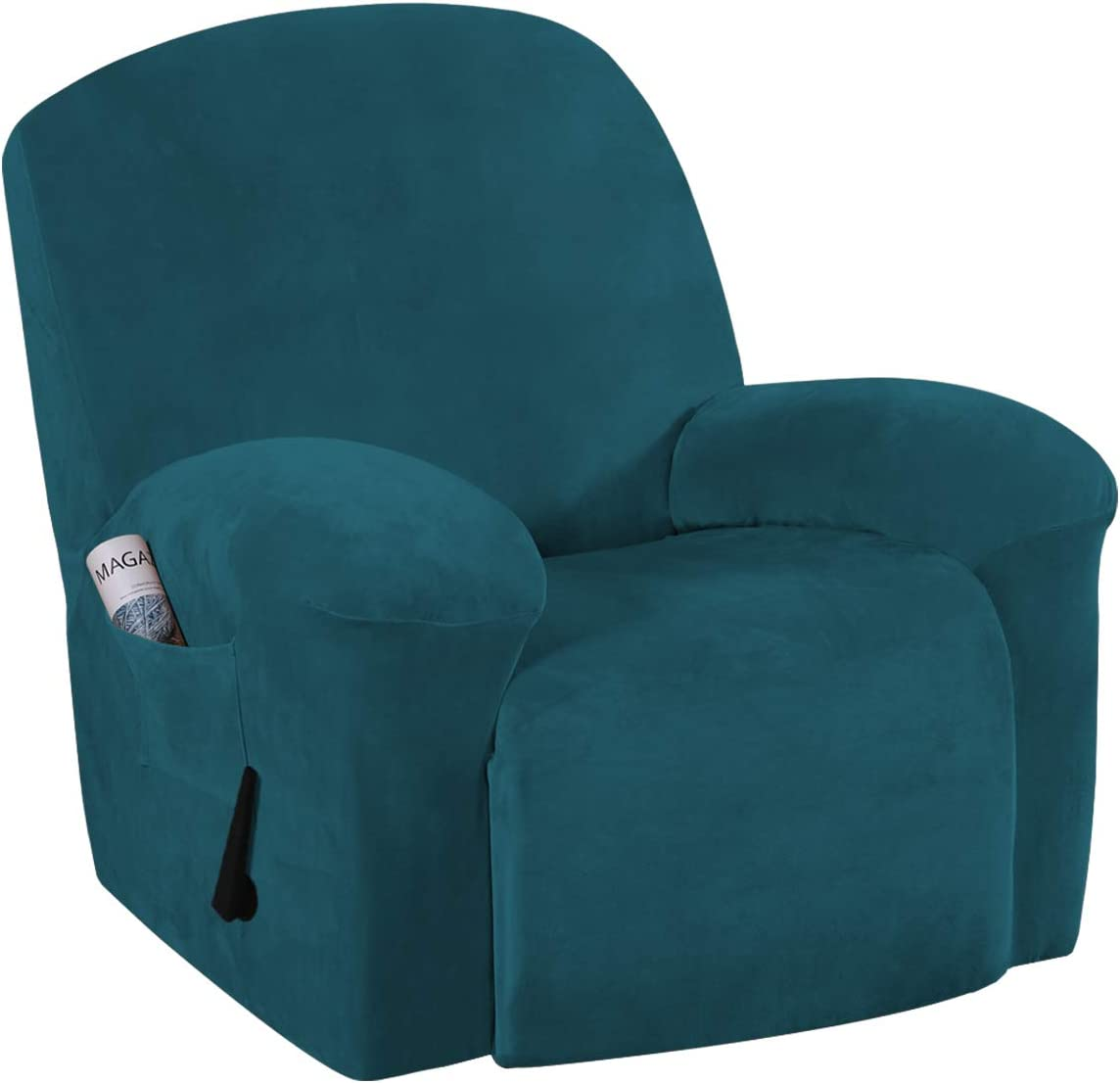 Stretch Recliner Slipcovers Recliner Chair Cover Sofa Furniture Cover 1-Piece Modern Rich Velvet Plush Form Fit Stylish Protector Feature Rich and Soft Fabric (Recliner, Deep Teal)