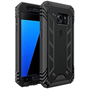Galaxy S7 Case, POETIC Revolution Series [Premium Rugged][Shock Absorption & Dust Resistant] Complete Protection Hybrid Case w/ Built-In Screen Protector for Samsung Galaxy S7 (2016) Black