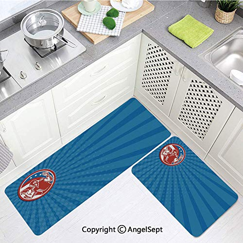 """Kitchen Mat Set Comfortable,Pop Gridiron with Old Fashioned Visual Pties Throwing Man Blue Red,Back Floor Mats Doormat Bathroom,(17""""x24""""+17""""x48"""")"""