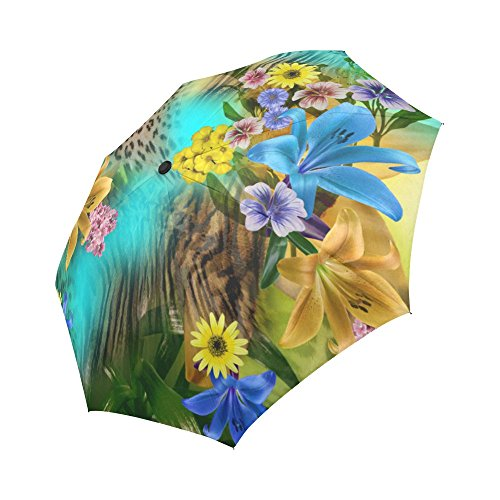 InterestPrint Custom Automatic Foldable Umbrella Flower Leopard Compact Folding Umbrellas with Anti-Slip Rubberized Grip For Women Men Kids