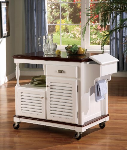 Coaster Home Furnishings 2-Door Kitchen Island White and Cherry - French Wine Toscana