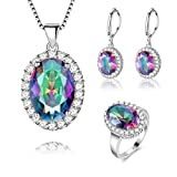 Jewelry Set, J.MOSUYA 925 Sterling Silver Plated Rainbow Mystic Topaz Ring Earring Necklace Set for Women