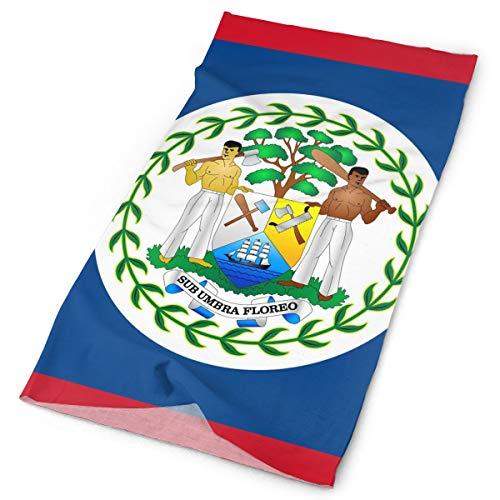 Yisliferunaz Belize Flag National Headband Men Women Headwrap Magic Head Scarf Bandana Headwear Neck Scarf Sun Guard Do Rag Cap Cool Headdress Scrunchie Face Mask Neck Gaiter