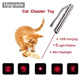 Malier 2017 Newest Multi-pattern Funny Cat Chaser Toy LED Light Interactive Cat Toys Entertain Your Pets Training Tool, USB Rechargeable, Stainless Steel Body, Portable