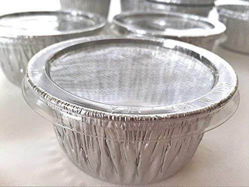 Cheese Muffin - 100 Aluminum Foil Muffin Cupcake Ramekin 4oz Cups with Lids Disposable