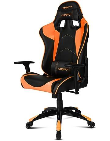 Drift DR300 Silla, Piel sintética, Negro/Naranja, 48x61.5x129 cm