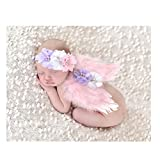 Tinksky Photo Prop Outfit Baby Girl Angel Feather Wing Costume Chiffon with Headband Newborn Photo Prop Costume (Pink)