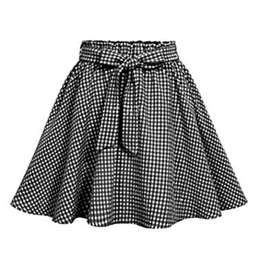 Jofemuho Women Casual High Waisted Plaid Print Retro Pleated A-Line Mini Skirts