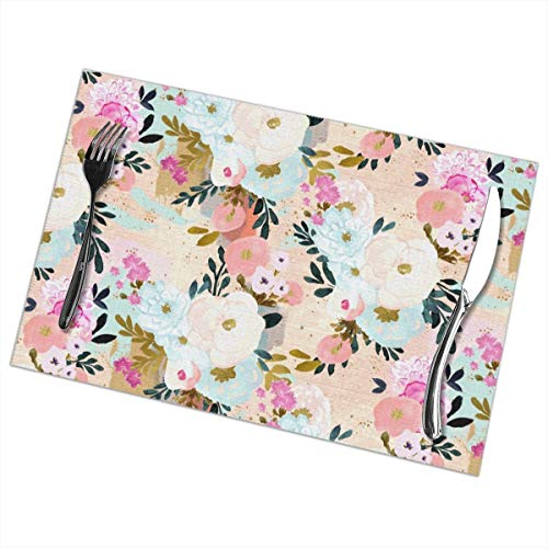 (Placemats Set of 6 for Dining Table Washable Florence Painterly Floral Placemats for Dining Table Washable Table Mats 12x18 Inch)