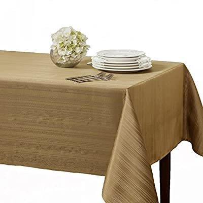 "Benson Mills Flow ""Spillproof"" 60-Inch by 104-Inch Fabric Tablecloth, Taupe/Gold - Heavy weight fabric tablecloth, Top quality! All liquids, even wine, bead up can be quickly wiped clean with a sponge or napkin Contemporary pattern Tablecloth, available in additional colors and sizes - tablecloths, kitchen-dining-room-table-linens, kitchen-dining-room - 5163Jg9%2BTxL. SS400  -"