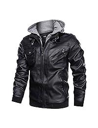 Men's Vintage Leather Jacket Motorcycle Jacket with Removable Hood Autumn Winter Zipper Jacket Coat Outwear,Black,L