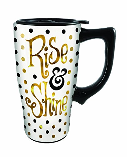 Spoontiques Rise and Shine Travel Mug, Off-White