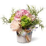 National Tree 7 Inch Assorted Rose and Orchid Flowers with White Basket Style Base (NF36-5277-1)