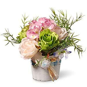 National Tree 7 Inch Assorted Rose and Orchid Flowers with White Basket Style Base (NF36-5277-1) 10