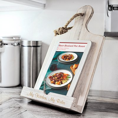 Personalized White Wooden Recipe Stand by Cathys Concepts