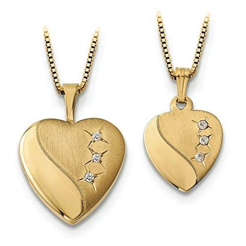 16 mm 14 carats avec Médaillon Femme-Coeur-Plaqué Or-Ss-Pendentif 12 JewelryWeb mm