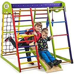 """Wooden Playgrounds""""Unga"""" Home Gymnastic, Wood Indoor Jungle Gym Sets, Climbing Kids, Indoor Children Playground, Baby Play Area Complete with Climbing Ladder Slide Rings & Swing, Sport"""