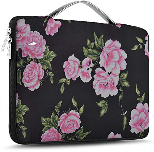 """ZINZ Laptop Sleeve 15 15.6 16 Inch Case Briefcase, Compatible MacBook Pro 16 15.4 inch, Surface Book 2/1 15"""" Super Slim Spill-Resistant Handbag for Most Popular 15""""-16"""" Notebooks, Peony"""