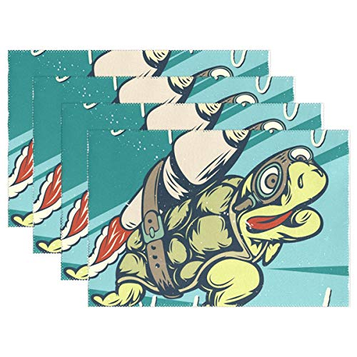 Jereee Cool Sea Turtle Rocket Set of 6 Placemats Heat-Resistant Table Mat Washable Stain Resistant Anti-Skid Polyester Place Mats for Kitchen Dining Decoration