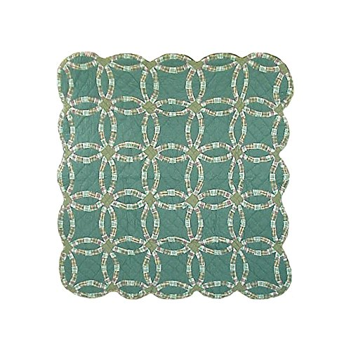 Patch Magic 50-Inch by 60-Inch Green Double Wedding Ring Throw