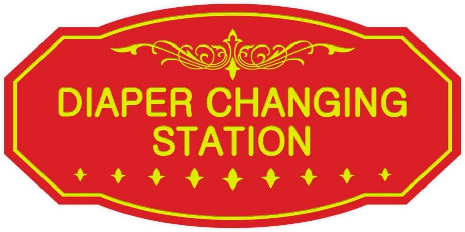 Signs ByLITA Victorian Diaper Changing Station Sign Small Brushed Gold