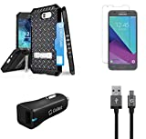 Beyond Cell Military Grade Case (Diamond Plate) Case with Screen Protector, 18W Car Charger, USB Cable, Atom LED for Samsung Galaxy J3 2017 (Eclipse/Luna Pro/J3 Prime/Eclipse/Emerge/Mission)