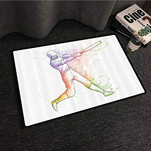 Sports Decor Interior Door mat Baseball Player Standing at Home Plate and Hitting Strong Colorful Motion Effects Illustration Suitable for Outdoor and Indoor use W35 xL59 Multi