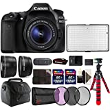 Canon EOS 80D 24.2MP DSLR Camera + 18-55mm + 58m Filter Kit + Telephoto and Wide Angle Lens + Two 32GB Memory Card + Card Holder + Reader + Led Video Light + Case + Flexible Tripod + 3pc Cleaning Kit