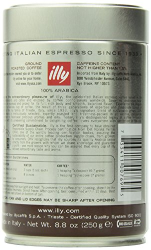 Illy Caffe Scuro Drip Dark Roast Ground Coffee 8.8-Ounce Tins (Pack of 2)