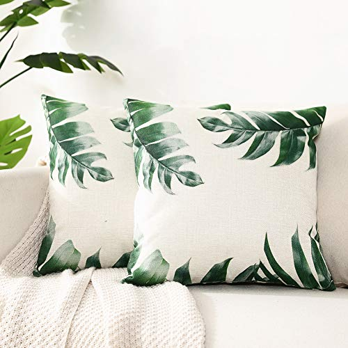 Kerothen Leaf Throw Pillow Covers - Decorative Tropical Green Leaf Pattern Throw Pillows Covers Cozy Farmhouse Couch Outdoor Palm Banana Tree Leaf Cushion Cover Throw Pillow Cases