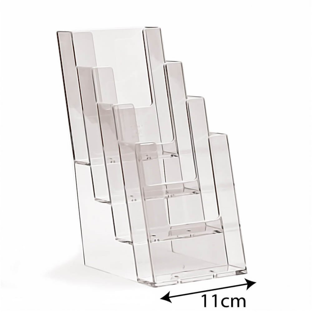 3D Displays DL/Trifold 4 Tier Clear Leaflet Holder Freestanding/Countertop Shop/Information / Tourist/Museum / Attraction Display