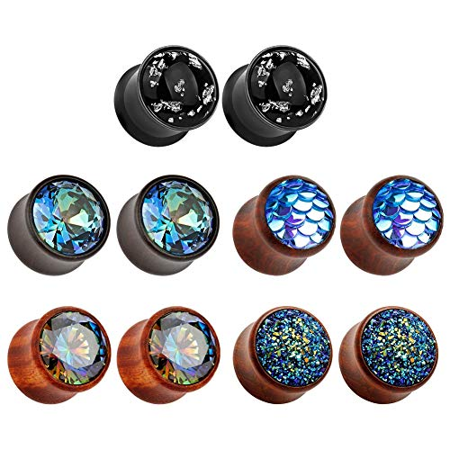 TBOSEN 5 Pairs Set Gauges Wood Tunnels Earrings Zircon Stone Body Jewelry Stretching Tapers Expanders Wooden Ear ()