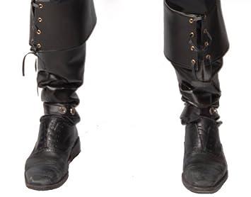 Herren Stiefel Stulpen in Leder Optik GUI Boot Cover für Piraten Steampunk Krieger