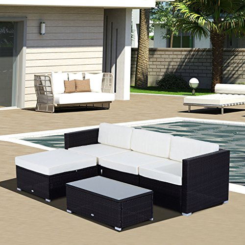 Amazon Outsunny 5 Piece Deluxe Outdoor Patio PE Rattan