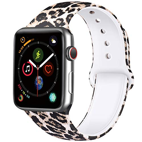 ATUP Compatible with iWatch Band 38mm 40mm 42mm 44mm Women Men, Soft Silicone Sport Band Compatible with iWatch Series 4, Series 3, Series 2, Series 1 (Leopard, 38mm/40mm-S/M)