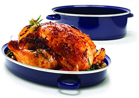 Chantal Enamel-On-Steel 11-Quart Covered Roaster with Stainless Steel Rack, Cobalt Blue