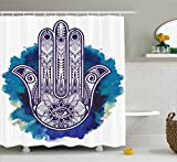 Cheap Ambesonne Hamsa Shower Curtain Ethnic Decor, Hamsa Hand of Fatima Good Luck Symbol Oriental Ornament Meditation, Polyester Fabric Bathroom Shower Curtain Set with Hooks, Pink Blue White