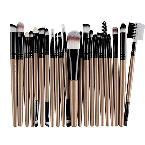 Makeup Brushes, Malltop Shawn 22PCS Wooden Foundation Cosmetic Eyebrow Eyeshadow Brush Makeup Brush Sets Tools (Coffee)