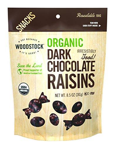 Woodstock Organic Dark Chocolate with Raisins, 8.5 Ounce