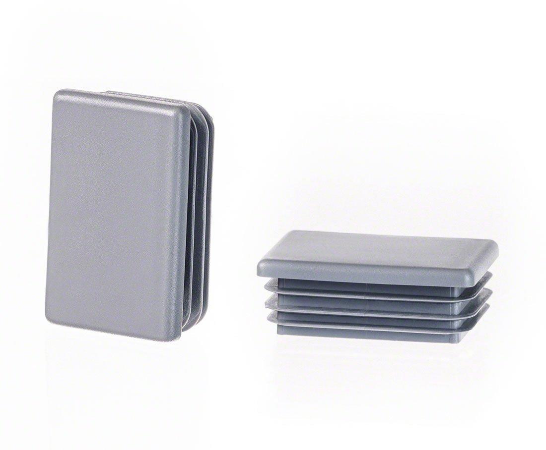 Rechteckstopfen 80x50 mm Grau Kunststoff Endkappen Verschlusskappen 10 Stck