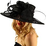 SK Hat shop British Regal Sinamy Ribbon Feathers Quill Derby Floppy Bucket Dressy Hat Black