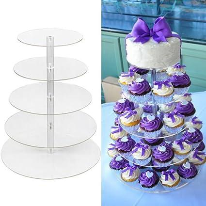 Amazon.com | 5 Tier Round Clear Acrylic Cupcake Stand Wedding ...