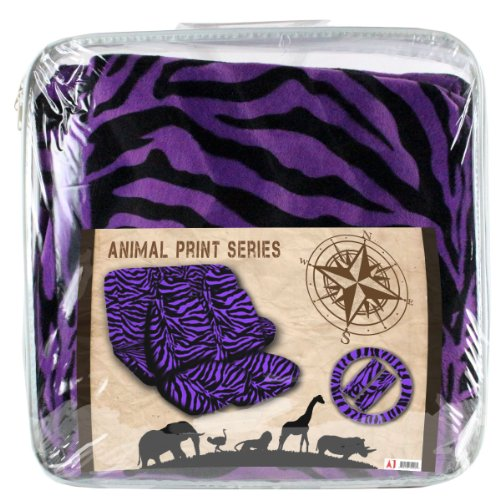13 pc Safari Zebra Purple Print Seat Cover Set 2 Lowback Seat Covers, 2 Front and 2 Rear Floor mats, 1 Bench Cover, 1 Wheel Cover and 2 Shoulder Pads -