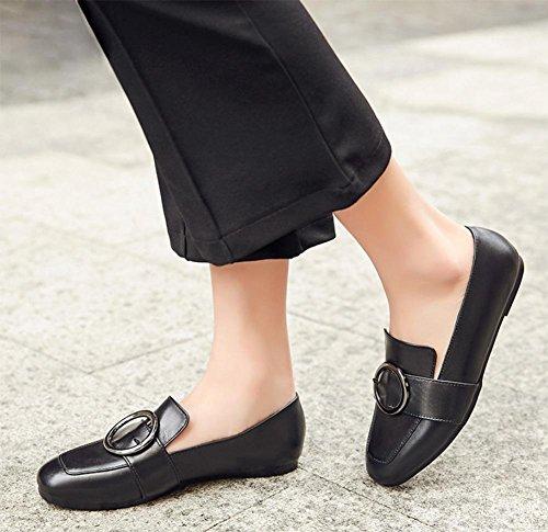 Ms. primavera ascensore scarpe basse scarpe single bocca fissati scarpe metalliche del piede con la testa quadrata superiore in scarpe delle signore scarpe basse , US6 / EU36 / UK4 / CN36