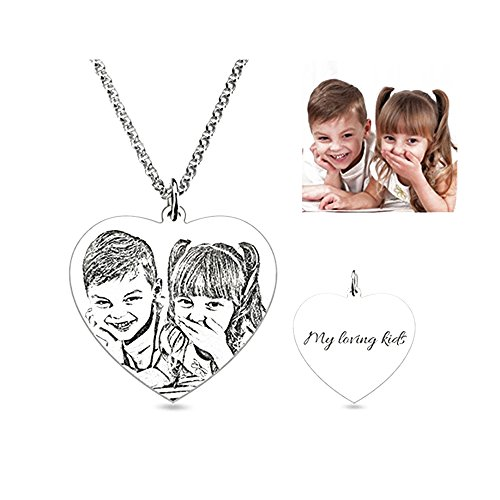 Personalized Custom Photo Necklace Pendant Silver Chain with Customized Message-A Perfect Gift for Your Lovers (20 inches) (Pendant Personalized Photo)