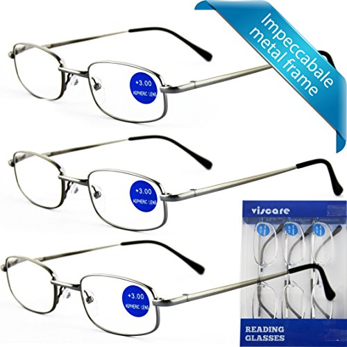 IMPECCABLE METAL frame and crystal clear vision - Viscare 3-Pack Men Women Metal Spring Hinged Full Frame Reading Glasses Readers With Case n Cloth +1.50