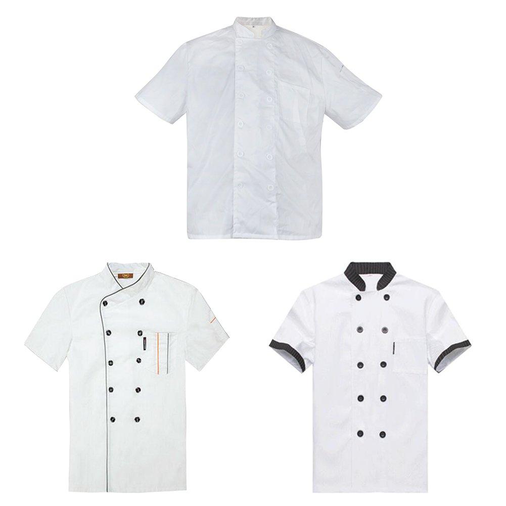 TopTie 3 Pack Men & Women Short Sleeve Chef Coat Jacket-set2-XS by TopTie